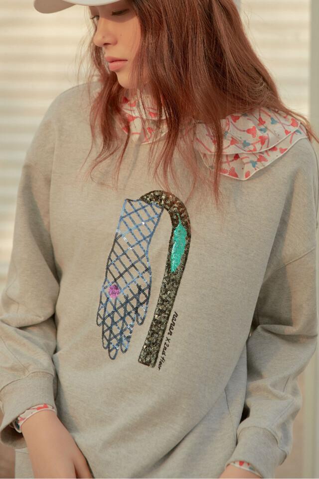 면 스팽글 패턴 크루넥 티셔츠