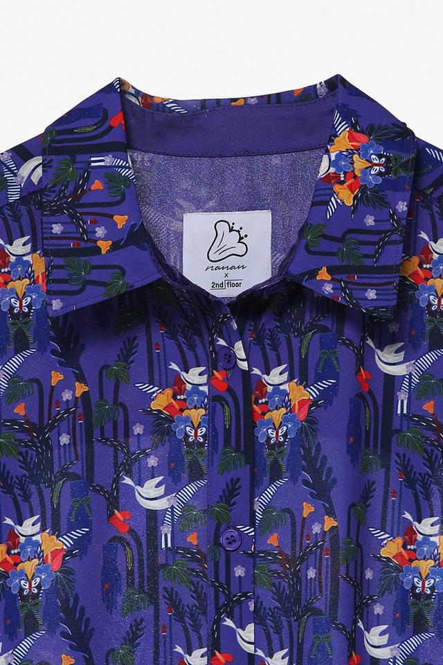 쉬폰 플로럴 롱 셔츠