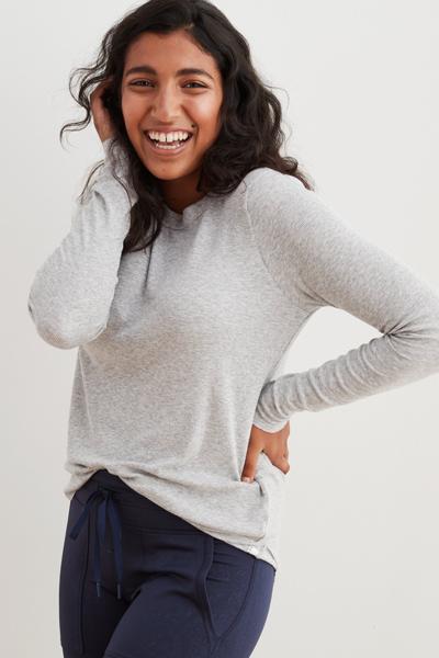 [여성] 비스코스혼방 립 긴소매 티셔츠