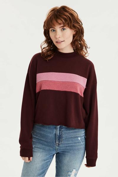 [여성] 면혼방 컬러블록 모크넥 티셔츠