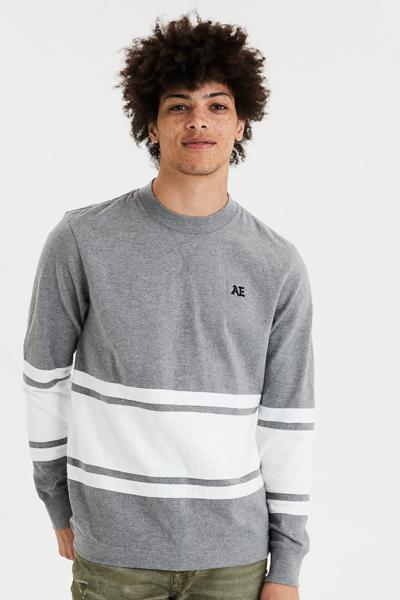 [남성] 코튼 컬러블록 모크넥 티셔츠