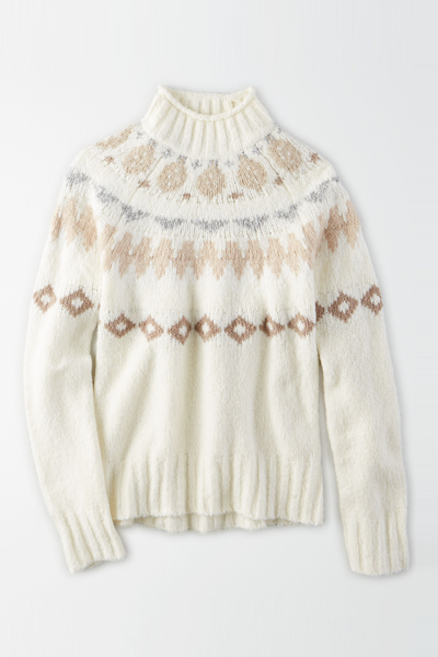 [여성] 면혼방 페어아일 목넥 스웨터