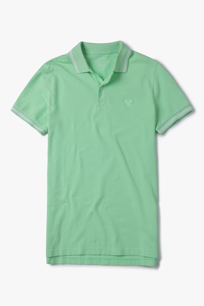 [남성] 면혼방 슬림핏 솔리드 배색라인 폴로 티셔츠