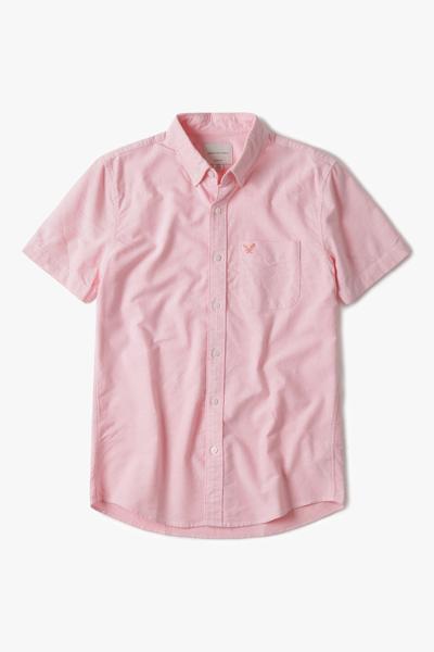 [남성] 코튼 솔리드 반팔 셔츠