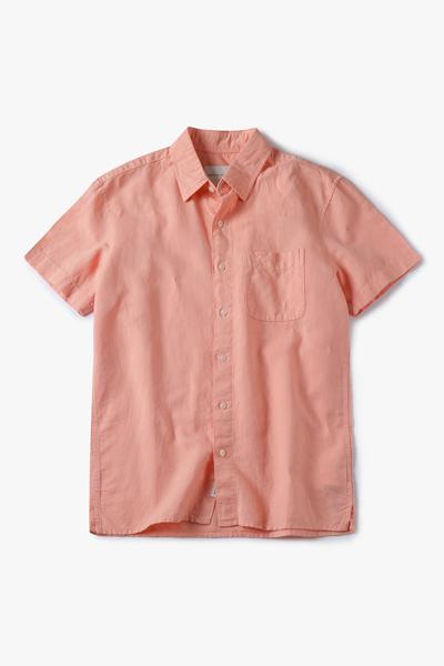 [남성] 린넨 엠브로이드 로고 반소매 셔츠