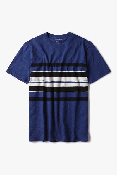 [남성] 코튼 스트라이프 반소매 티셔츠