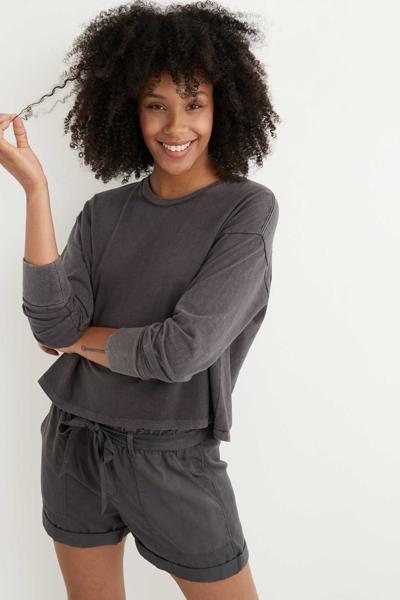 [여성] 코튼 솔리드 크롭 티셔츠