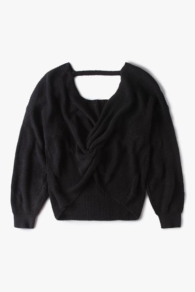 [여성] 면 혼방 루즈핏 트위스트 백 라운지 스웨터