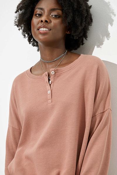 [여성] 면혼방 루즈핏 드로우스트링 헴 니트 티셔츠