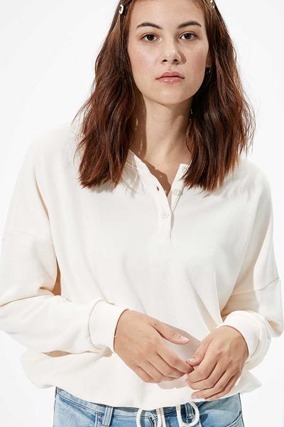 [여성] 면혼방 루즈핏 드로우스트링 니트 티셔츠