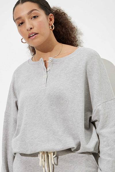 [여성] 면혼방 루즈핏 드로우스트링 신치 헴 니트 티셔츠