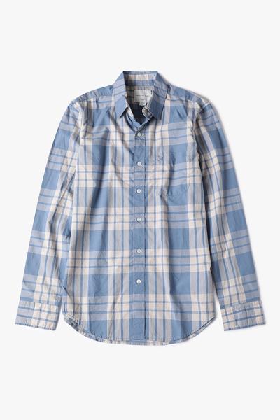 [남성] 코튼 슬림핏 배색 체크 셔츠