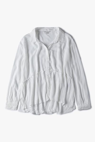 [여성] 루즈핏 코어 어태치드 러플 셔츠