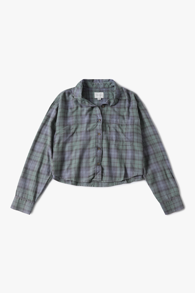 [여성] 면혼방 플래드 코어 크롭 셔츠