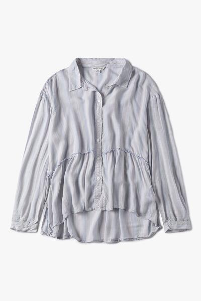 [여성] 루즈핏 스트라이프 베이비돌 크롭 셔츠