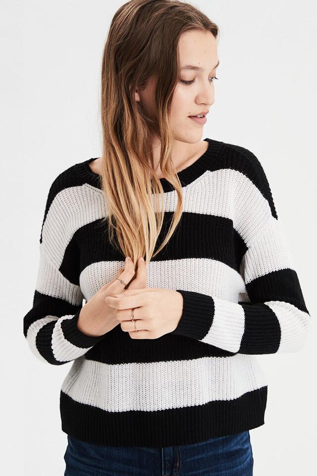 [여성] 코튼혼방 스트라이프 크루넥 스웨터