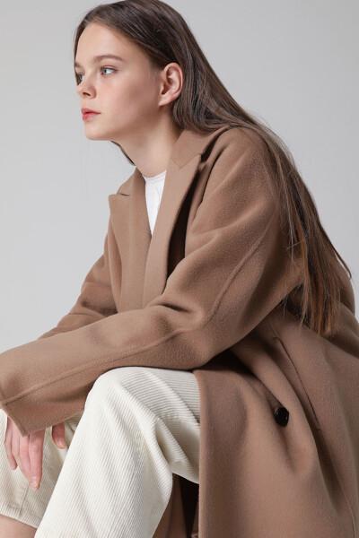 [여성] 캐시미어혼방 베이직 미디 코트