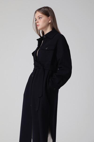 [여성] 울혼방 포켓 롱 벨티드 코트