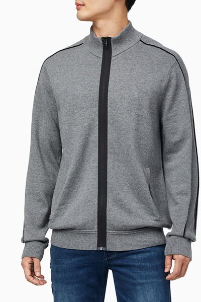남성 에센셜 티핑 집업 스웨터 가디건