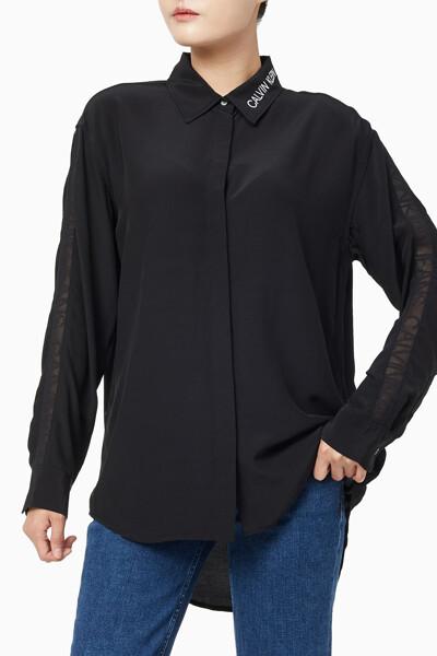 여성 메쉬 테이프 드레이피 셔츠 J214432BAE