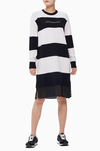 여성 믹스미디어 스트라이프 스웨터 원피스 J214931YAF