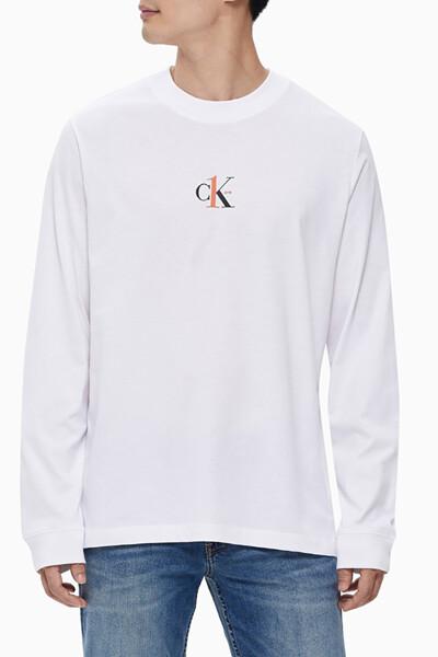 남녀공용 CK1 그래픽 긴팔 티셔츠 J400078YAF