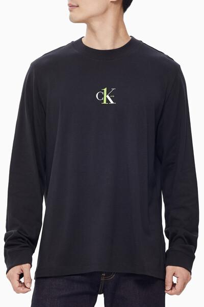 남녀공용 CK1 그래픽 긴팔 티셔츠 J400078BEH
