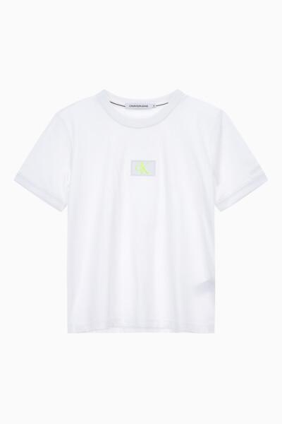 여성 CK 뱃지 로고 크롭 반팔 티셔츠 J215099YAF