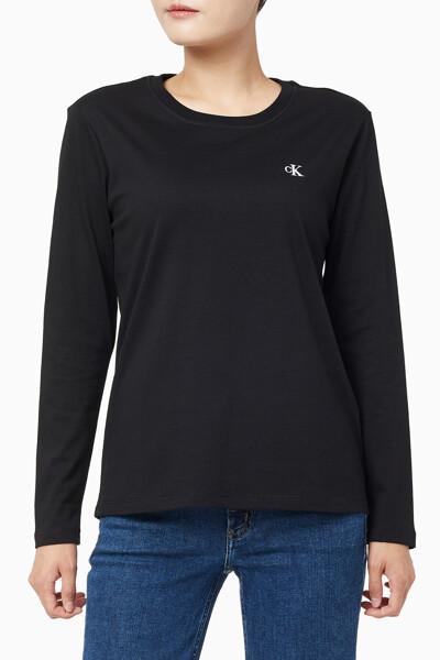 여성 CK 엠보스드 스트레이트핏 긴팔 티셔츠 J215064BAE