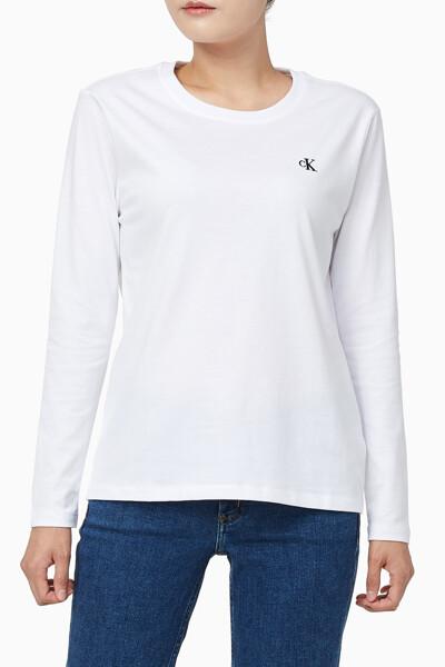 여성 CK 엠보스드 스트레이트핏 긴팔 티셔츠 J215064YAF