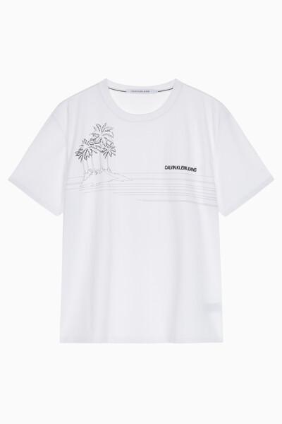 남성 릴렉스드 팜 트리 그래픽 반팔 티셔츠 J314506YAF