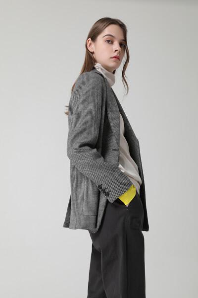 여성 울혼방 하운드투스 하프 자켓