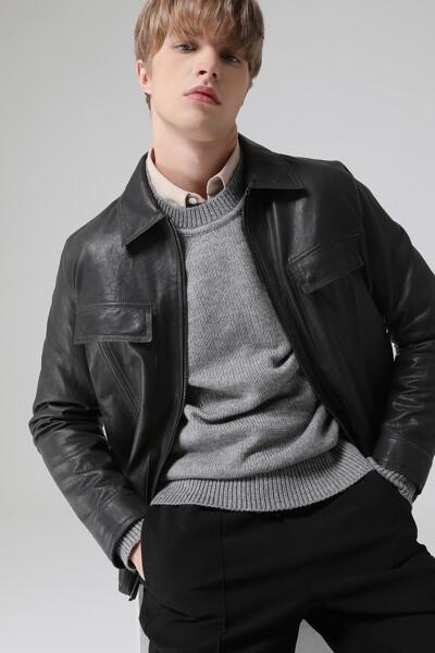 남성 양가죽 스탠다드핏 트러커 자켓