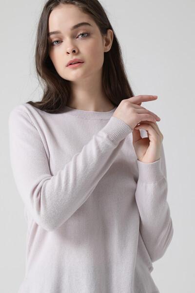 [여성] 울혼방 크루넥 긴소매 니트 탑