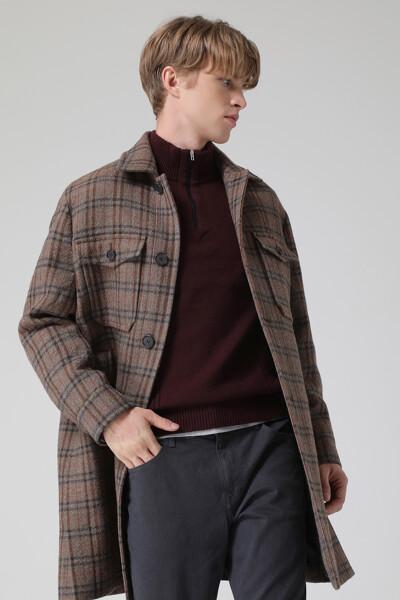 [남성] 울혼방 타탄체크  코트