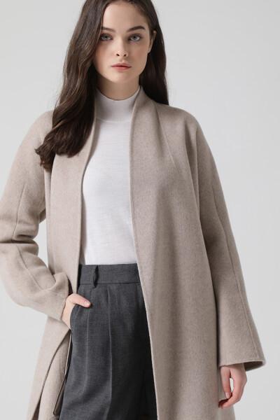 [여성] 캐시미어혼방 노카라  코트