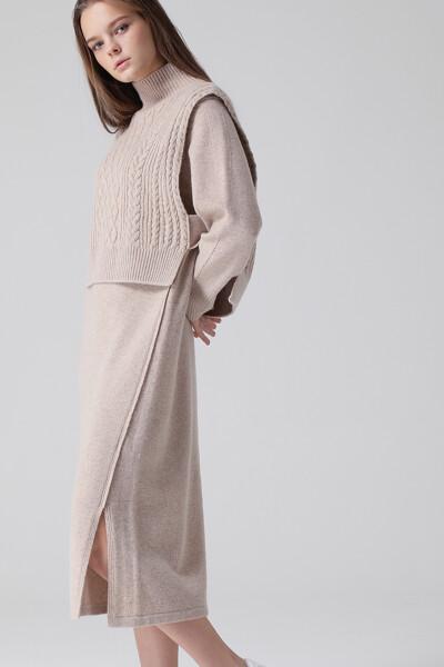 [여성] 캐시미어혼방 솔리드  스웨터 원피스