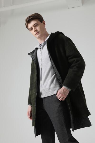 [남성] 울혼방 타탄체크  후드 코트