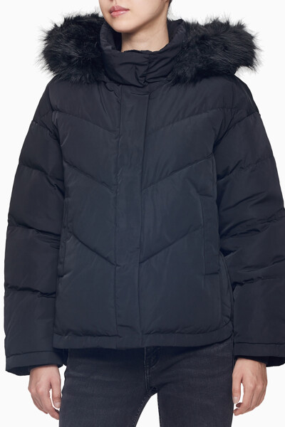 여성 블랙 이리데슨트 다운 퍼프 자켓 J2147060GJ