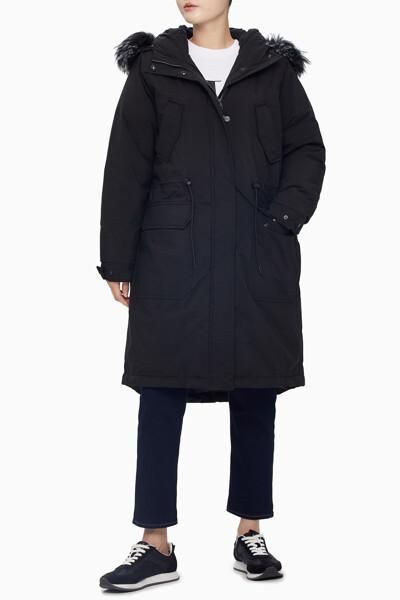 여성 블랙 퍼 후드 다운 자켓 J215162BEH