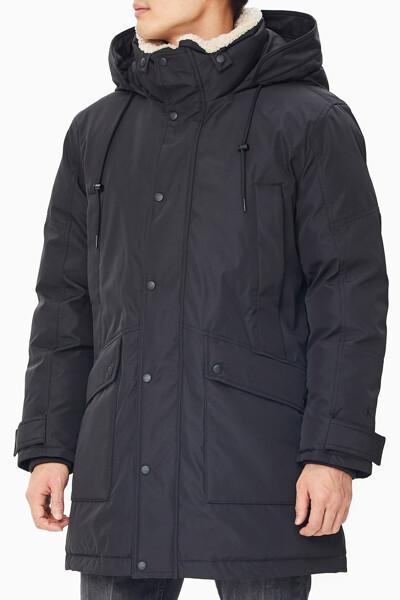 남성 퍼 카라 미드 렝스 다운 재킷 J318157BEH