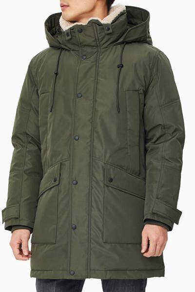 남성 퍼 카라 미드 렝스 다운 재킷 J318157LDD