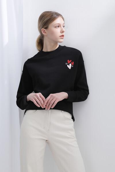 프렌치 테리 하트  스웨트셔츠