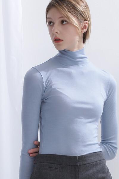 울 베이직 터틀넥 티셔츠