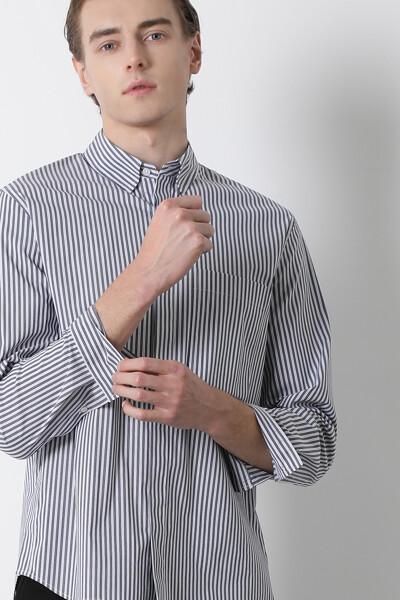 면혼방 루즈핏 스트라이프 셔츠