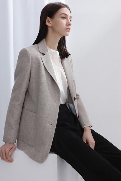캐시미어혼방 스탠다드핏 헤링본 자켓