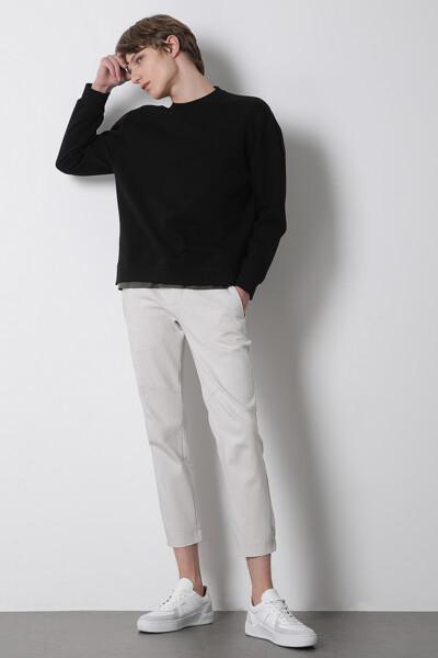 면혼방 루즈핏 사이드 지퍼 스웨트셔츠