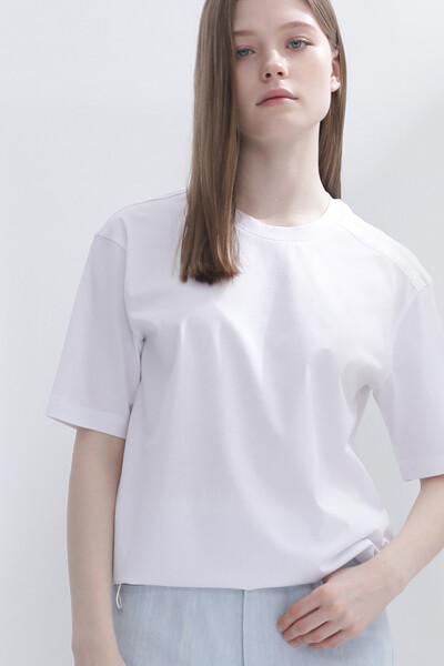 코튼 로고 자카드 반팔 티셔츠