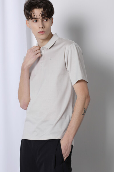 실크 블렌드 엠브로이드 폴로 티셔츠