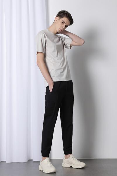 실크 블렌드 엠브로이드 반팔 티셔츠